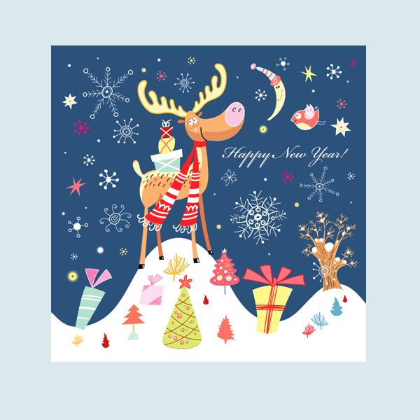 """Новогодняя открытка, компания""""Яндекс"""""""